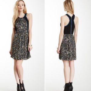 Rebecca Taylor Black Print Colorblock Casual Dress